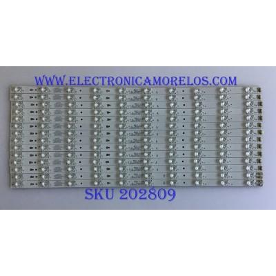 KIT DE LED'S PARA TV JVC (14 PIEZAS) / 30355010211 / 30355010212 / LED55D10A-ZC14CG-02 / PANEL LSC550FNO8 / MODELO LT-55UE76