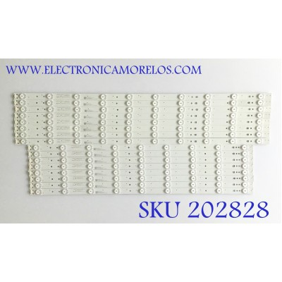 KIT DE LED'S PARA TV JVC (16 PIEZAS) / 30365009219 / LED65D9-ZC21AG-01 / 65000M06 / PANEL LSC650FN04 / MODELO LT-65MA877