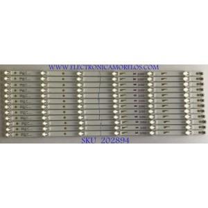 KIT DE LEDS (12 PIEZAS) / 4C-LB650T-HRB / LE4RC2U1-D-K / 65D1800 / 65HR330M06A7 / PANEL LVU650CSDX