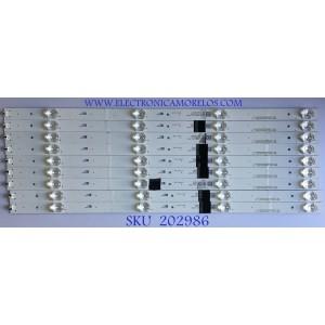 KIT DE LEDS PARA TV HITACHI (9 PIEZAS) / 4C-LB550T-XR5 / CRH-AT55D1800303009046B2REV1.0I / FZD-03E348124 / M01Y162JA5 / PANEL LVF550CSDX / MODELO 55E31