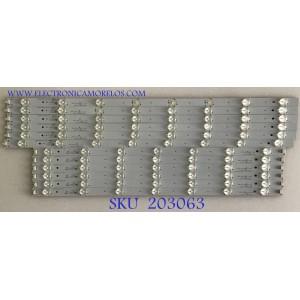 KIT DE LEDS PARA TV INSIGNIA (12 PIEZAS) / HP0M01A6U21130915 / CRH-TF5535351506R388REV1.1 / 910-550-1004 / 910-550-1005 / PANEL T550HVN01.1 / MODELO NS-55E480A13A