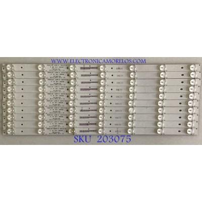 KIT DE LEDS PARA TV PANASONIC (10 PIEZAS) / 910-500-1027 / MASON-LED L0289 V4 / 50GD280 / MODELO TC-50CX400U
