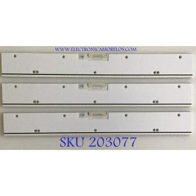 KIT DE LEDS PARA TV SAMSUNG  ((INCOMPLETO SOLO 3 PIEZAS)) / BN96-29073A / V5LE-650SM0-R2 / 29073A / PANEL CY-KF650FSLV2H / MODELO UN65F9000AFXZA UD07 / NOTA IMPORTANTE: KIT INCOMPLETO CONSTA ORIGINALMENTE DE 4 PIEZAS