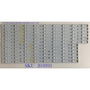 KIT DE LEDS PÁRA TV HAIER (12 PIEZAS) / 30350017204 / LED50D17-ZC14-04 (A) / 0126A / PANEL V500HJ1-P01 REV.C1 / MODELO LE50F2280