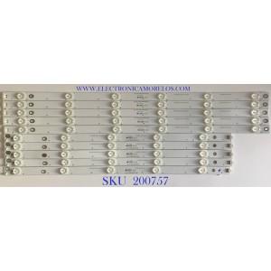 KIT DE LEDS HITACHI / CCH_LB55_D2000/D3000/D5000_R / CCH_55_D2000/D3000/5000_L / LB-C550F14-E4-S-G1-DL9 / LB-C550F14-E4-S-61-DL10 / PANEL C550F15-E6-H / MODELO LE55A6R9A / KIT INCOMPLETO CONSTA ORIGINALMENTE DE 12 PIEZAS ((INCOMPLETO SOLO 10 PIEZAS))