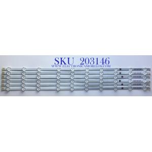 KIT DE LED'S PARA TV SANYO  (6 PIEZAS) / NUMERO DE PARTE  UDULEDEVL008 / LBM6501001-IN-1(HF)(O) / UDULEDEVL008 REV.A / E466169  XY-M / PANEL HV650QUB-N9E / MODELO FW65R70F   A