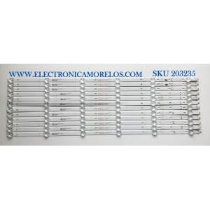 KIT DE LED'S PARA TV ONN / JVC (12 PIEZAS) / NUMERO DE PARTE 30370006003 / 30370006004 / LED70D06A-ZC66AG-03 / LED70D06B-ZC66AG-03 / E78030 / PANEL JE695REHB9L / MODELOS  10012588 / LT-70MAW795