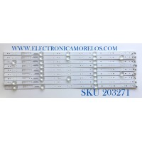 KIT DE LED'S PARA TV ELEMENT (9 PIEZAS) / NUMERO DE PARTE 261501004580 / 12-50C800-3030-5X9-0D18-540X15-180319 / YF-H01Q003JDJD-0001 / 230101010240 / PANEL CN500NC050 / MODELO E2SW5018