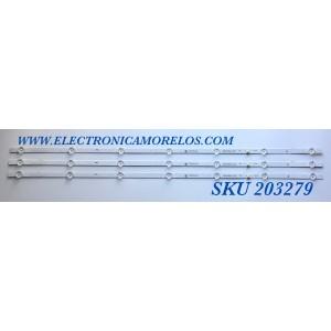 KIT DE LED'S PARA TV INSIGNIA (3 PIEZAS) / NUMERO DE PARTE SSC-BX403030T030799R / SSC-BX403030T030799R-REV1.1 / PE5P-551J-2-K / 09810104MC03 / PANEL V400HJ6-PE1 / MODELO NS-40D510NA21
