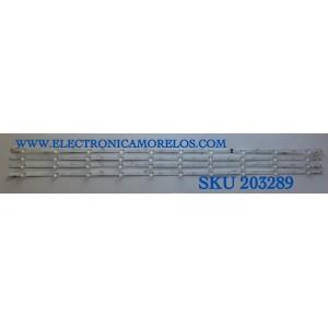KIT DE LED'S PARA TV HISENSE (4 PIEZAS) / NUMERO DE PARTE 1246021 / ZD_SSC_D550_4X10_01_V1.3_20200813 / HIP7.820.208 / PANEL HV550QUB-F70 / HD550Y1U72-T0L / MODELO 55R6095G5