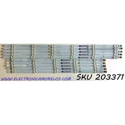 KIT DE LED'S PARA VIZIO (10 PIEZAS) / NUMERO DE PARTE LBM580M0501 / LBM580M0601 / LBM580M0501-I-6(HF)(0)(L) / LBM580M0601-J-6(HF)(0)(R) / 210BZ05DLB33LBRC6E / PANEL TPT5800B5-U1T01.D / MODELO V585-G1