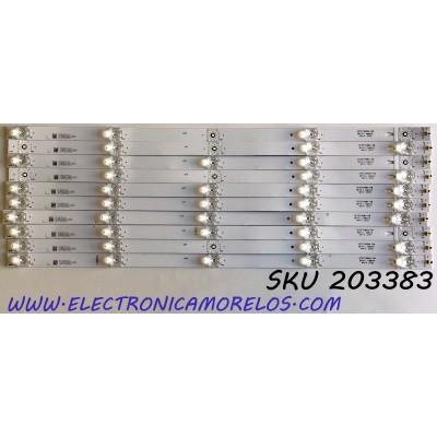 KIT DE LED'S PARA TV ELEMENT (10 PIEZAS) / NUMERO DE PARTE 3P55TA004-A0 / 4655TA003 / 112600165-YC00 / 18AE630BN180811 / PANEL LC546PU2L02 / MODELO E4STA5517 / E4STA5517 D8HYM