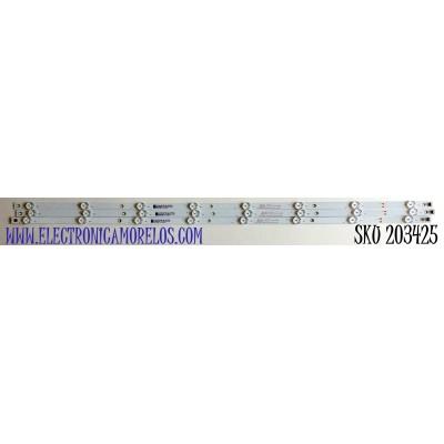 KIT DE LED'S PARA TV INSIGNIA (3 PIEZAS) / NUMERO DE PARTE 303GC430066 / GC43D08-ZC62AG-03 / GC430M47 / 70401-01223 / PANEL BOEI430WU1-01 / MODELO NS-43D420NA20