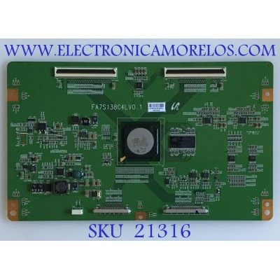 T-CON TOSHIBA / 75017090 / FA7S138C4LV0.1 / 2903E / PANEL LTA550HF01 / MODELO 55SV670U