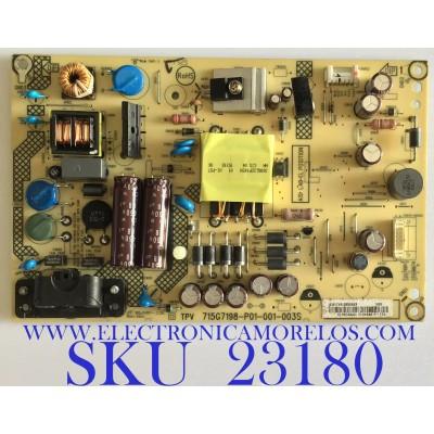 FUENTE DE PODER PARA TV SHARP / PLTVEL253XAX3 / 715G7198-P01-001-003S / (X)PLTVEL253XAX3 / PANEL TPT315B5-HVN05.A REV:S800B / MODELO LC-32LB370U
