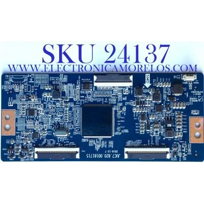 T-CON PARA TV ELEMENT / NUMERO DE PARTE 998H7PT / JUC7.820.00181715 / 0SPM2608A/ GW4011/ E342828 / GW40110SPM2608A / PANEL C500U17-E61-A(G11) / MODELO E4SW5017RKU