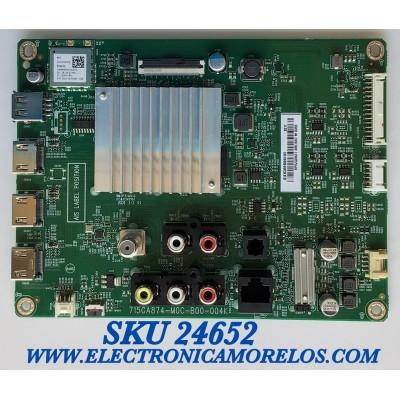 MAIN PARA SMART TV VIZIO 4K UHD CON HDR RESOLUCION (3840 x 2160) / NUMERO DE PARTE XKCB02K009 / 715GA874-M0C-B00-004K / (X)XKCB02K009010X / BPRJQ3KA1 / 4851687 / PANEL TPT430H3-QUBH10.K REV:SAP0H / MODELO V435-H11 LTMUZGLW