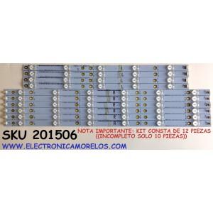 KIT DE LED'S PARA TV SHARP ((INCOMPLETO SOLO 10 PIEZAS)) / NUMERO DE PARTE 500TT65 V1 / 500TT66 V1 / YX-50022001-3D565-0-B-538 / YX-50022011-3D565-0-B-538 / SUSTITUTAS 500TT61/500TT62 / PANEL TPT500J1-HVN07.U REV:S600F / MODELOS LC-50LB370U / LC-50LB371U