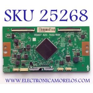 T-CON PARA TV HISENSE 4K ANDROID SMART TV / NUMERO DE PARTE 249673 / RSAG7.820.7932/ROH / E303981 / PANEL HD550V3U51-TAL3\S0\FJ\GM\ROH / MODELO 55H8F 55A6501EU