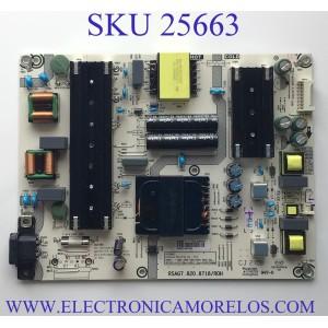FUENTE DE PODER PARA TV HISENSE·ROKU TV 4K HDR UHD SMART TV / NUMERO DE PARTE 278428 / RSAG7.820.8718/ROH / HLL-4365WU / CQC13134095636 / PANEL´S HD650Y1U71-T0L1 / HD650X1U51-T0L3 / MODELOS 100021261 / 65R6E4