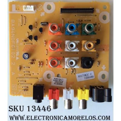 CONECTORES RCA / A/V / FUNAI  A0175MJC /BA94N0F0102 2_A / A0175-MJC / MODELO  LC220EM01 DS1 / PANEL UJ22MXA