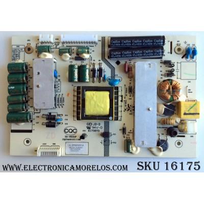 FUENTE DE PODER / APEX LK-SP405001A / CQC04001011196 / ZD-95(G)F / MO21180003 / PANEL T260XW06 V.3 / MODELO LE2612D