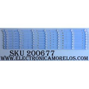 """KIT DE LED PARA TV (8 PIEZAS) / TCL 006-P1K3465A / YHF-4C-LB3207-YH02J / 140117-SA7XFA-028""""52""""(53,54,55,56,57,58,59.) / MODELO 55US57 / PANEL LVU550CSOT E1"""