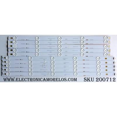 KIT DE LED PARA TV (10 PIEZAS) / HITACHI LB49006 / 49D2000 / KHP2O0650B / LB-C490F14-E4-L-G1-DL1 / LB-C490F14-E4-L-G1-DL2 / PANEL C490F14-E6-L / MODELOS LE49A509 / LE49A6R9