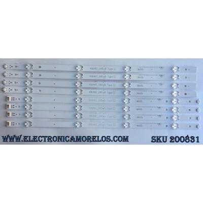 KIT DE LED´S PARA TV (8 PIEZAS) / LG 49UH61UHD / 49UH61_UHD_B / 49UH61_UHD_A / 49UH61_UHD_A TYPE L / 49UH61_UHD_B TYPE L /PANEL NC490DGE / MODELOS 49UH6090-UJ BUSFLOR / 49UH6030-UD BUSFLOR