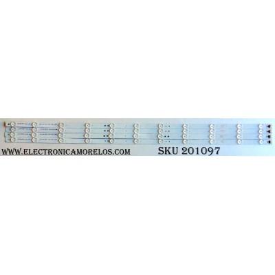 KIT DE LED`S PARA TV (4 PIEZAS) / ELEMENT 3P43UK002 / 910-430-1008 / A12/PC/30/C  910-430-1008 / 0343UK002 / A704211134 / A704211138 / 3P43UK002-A0 / PANEL T430QVN02.1 / MODELO EL4KAMZ4317