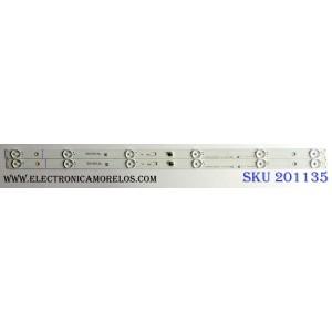 KIT DE LED`S PARA TV (2 PIEZAS) / INSIGNIA YHE-4C-LB320T-YHU / 260917-2K7XKM / TCL_ODM_32D1600_2x6_3030C_6S1P / 006-P1K3570A / PANEL  LVW320CSDX E26 V42 / MODELO NS-32DR310NA17