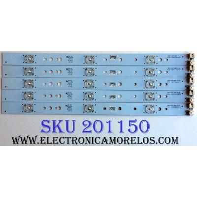 KIT DE LED`S PARA TV (5 PIEZAS) / PROSCAN 6003050414 / 32D7-LIGHT-BAR-PCB / 6050020011 / 20121028 / E331369 / MODELO PLDED3273A-B