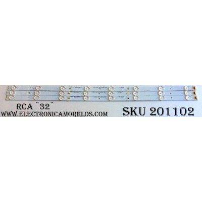 KIT DE LED`S PARA TV (3 PIEZAS) / RCA D-KJAB3232D505 / V3DB24P0 / V3DB24PO / 3.2-3.4v122-126 1m B24 / 2038-A95-N6113 / PANEL`S VVH32L147G03-12V / VVH32L147G03LTY / LK315T3HB87 / MODELO LED32G30RQ 5414-LE32G30-A1