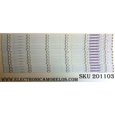 KIT DE LED`S PARA TV (14 PIEZAS) / 1182315 / Hisense_65_HD650K3U31_14X6_3030C_651P REV.1  27/05/35 / E355813 / YFPCB-1 / 130MA051R / HE65TSLKN8715 / PANEL HD650K3U31-B1\S0\XP\GM\ROH / 218914 / MODELO LC-65P6000U / SERIE DEL MODELO:65G173094H