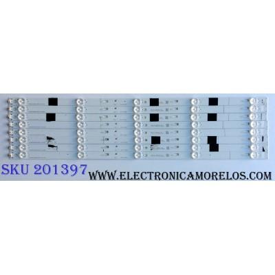 KIT DE LED´S PARA TV (8 PIEZAS) / TOSHIBA 4C-LB550T-YHK / TCL_ODM_55_D1500_8X5_3030C_V1 / 070817-UR7XGB-00614 / YHE-4C-LB550T-YHK / PANEL LVF550CSDX E11 V7 / MODELO 55L510U18