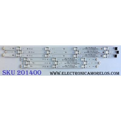 KIT DE LED´S PARA TV (6 PIEZAS) / LG SSC_43LJ55_7LED_REV01_170930 / SSC_43LJ55_A_S / A-TYPE LC43490075A / SSC_43LJ55_B_S / B-TYPE LC43490076A / PANEL`S NC430DUE-ABFX1 / NC430DUE-ABFX1-31MX / MODELOS 43LJ5500-UA / 43LJ5500-UA.AUSYLJM / 43LJ5500-UA.BUSYLJM