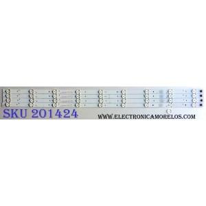 KIT DE LED´S PARA TV (4 PIEZAS) / ELEMENT TFGJ39D09-ZC21FG-03 / E469119 / 303TH390042 / C23/D/7 / 120-125/3.0-3.1 / 2010014957-3 / TH390M11 / 160308A6 / 910-390-1017 / PANEL T390HVN01.0 / MODELO ELEFW3916