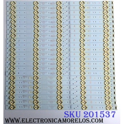 KIT DE LED´S PARA TV ((INCOMPLETO SOLO 23 PIEZAS)) / LG 5835-W65002-LR40 / 5835-W65002-OP40 / VER1.0 / 10-10091A-01A / 10-10092A-01A / 3340S / PANEL V650DJ4-QS5 / MODELO 65UH5500-UA