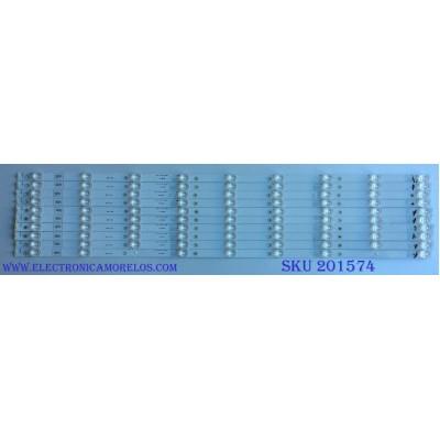 KIT DE LED´S PARA TV / HISENSE / ( 10 PIEZAS ) HD750M7U71-L1 / E469119 94V-0 / LB75022 V0 / HE75 86J / MODELO 75EU8070
