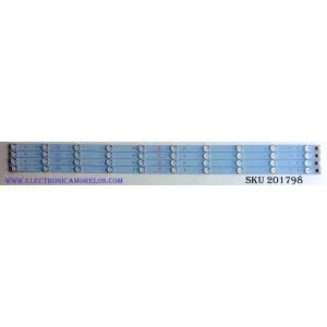 KIT DE LED'S PARA TV (4 PIEZAS) / ELEMENT 303TH395032 / TFGJ395D10-ZC14F-04 / 910-400-1023 / N358D-0 / 2010002596/B23 / 141018A2 / PANEL V400HJ6-PE6 / MODELO ELEFW408