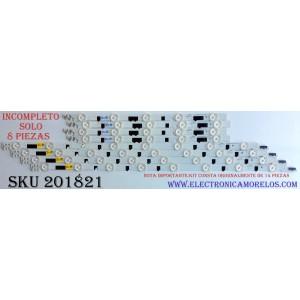 KIT DE LED'S PARA TV ((INCOMPLETO SOLO 8 PIEZAS)) / SAMSUNG D2GE-400SCA-R3 / D2GE-400SCB-R3 / 25304A / 25305A / 25520A / 25521A / 2013SVS40F / 130212 / PANEL CY-HF400BGLV1H / MODELOS UE40F6740 / UA40F5300 / UN40F6400 / HG40AB670 MAS MODELOS EN DESCRIPCION