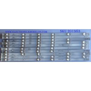 KIT DE LED'S PARA TV (10 PIEZAS) / JVC / 303MY550033 / MY55D06-ZC23AG-02 / 203-011-0038H MY550M01 / MODELO LT-55E770