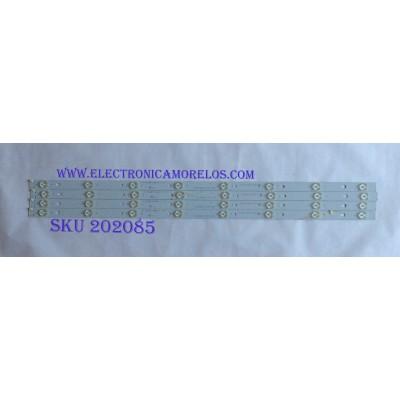 KIT DE LED'S PARA TV ( 4 PIEZAS ) / HITACHI / LB-C390X14-E3-A-G1-RF1 / RF-AC390E32-0801S-11 A4 / MODELO LE39A309