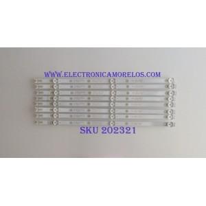 KIT DE LED'S PARA TV (8 PIEZAS) / WBOX / 4708-K43WDC-A2113N11 / K430WDC117B009 / 471R1P79 / PANEL K430WDC2 / MODELO 0E-43LED4K