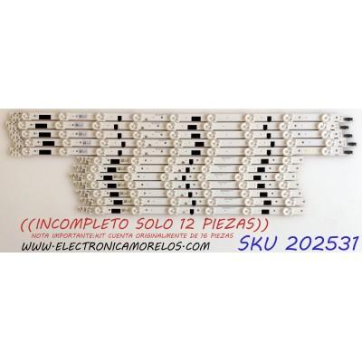 KIT DE LED`S PARA TV / NOTA IMPORTANTE:KIT CUENTA ORIGINALMENTE DE 16 PIEZAS (INCOMPLETO SOLO 12 PIEZAS) / SAMSUNG BN96-25308A / BN96-25309A / 2013SVS476F / 2013SVS476 L / BN96-25337A / PANEL CY-HF460CSLV1H / MODELO UN46F6350 / MAS MODELOS EN DESCRIPCIÓN