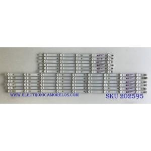 KIT DE LED'S PARA TV VIZIO (12 PIEZAS) / GJ-2K18-E55-550-D614-V9 / GJ-2K18-E55-550-D614-V9-R / GJ-2K18-E55-550-D614-V9-L / PANEL TPT550U1-QVN05.U / MODELO E55-F1 LTMWWUMU