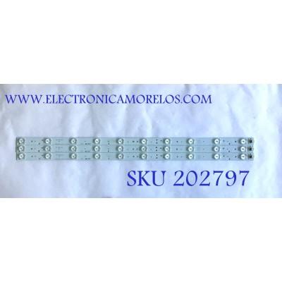 KIT DE LED'S PARA TV ELEMENT (3 PIEZAS) / 303BL315034 / GMBL315D10-ZC14F-04 / PANEL BLD315BA02 / MODELO ELEFT326 K1300