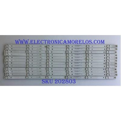 KIT DE LED'S PARA TV HAIER ( 12 PIEZAS) / 8149010665014 / CRH-K65K60030301206741 / MODELO 65UG2500