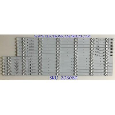 KIT DE LEDS PARA TV WESTINGHOUSE (12 PIEZAS) / 910-550-1003 / CRH-M5535351306L3B1REV1.0C / MODELO DWM55F2Y1 TW-79607