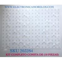 KIT DE LED'S PARA TV SAMSUNG (10 PIEZAS) / NUMERO DE PARTE BN96-50728A / 50728A / BN41-02771A / 20Y_Q90T_85 / TO58P-257A / PANEL CY-TT075FLAV5H / MODELOS QN75Q90TAFXZA / QN75Q90TAFXZA AB02